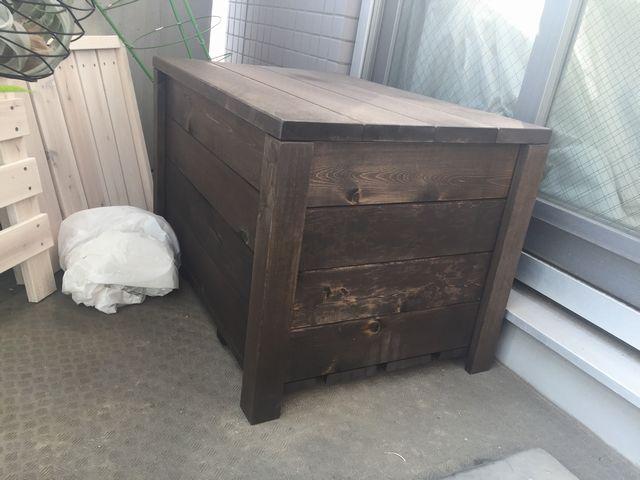 ベランダ用収納ボックス型ベンチ